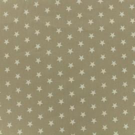 Oeko-Tex Poppy cotton Fabric white stars - sand background x 10cm