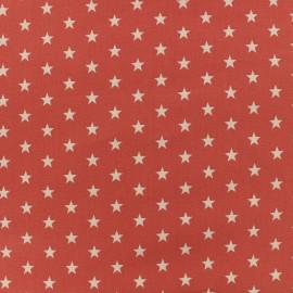 Oeko-Tex Poppy cotton Fabric white stars - coral background x 10cm