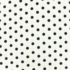 Tissu coton pois 7mm - blanc/nuit x 10cm