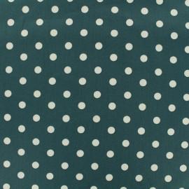 Tissu coton pois 7mm - blanc/eucalyptus x 10cm