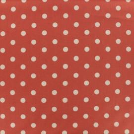 Tissu coton pois 7mm - blanc/corail x 10cm