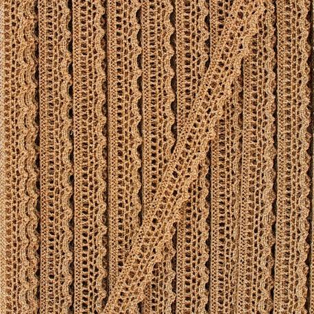 10 mm metallic aspect lace ribbon - gold x 1m