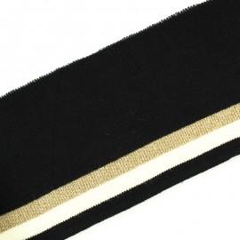 Bande bord côte rayures coton bio (110x7cm) - noir doré