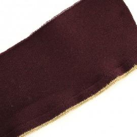 Bande bord côte à volant coton bio (110x8cm) - bordeaux doré
