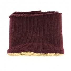 Organic cotton ribbed strip (110x8cm) - burgundy gold