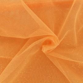 Tissu tulle pailleté Princesse - peche x10cm