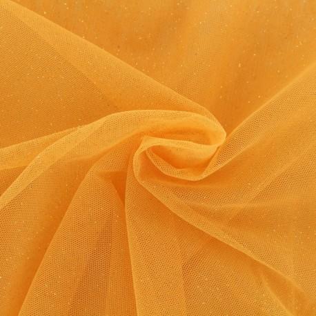 Tissu tulle pailleté Princesse - mangue x10cm
