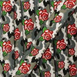 20 mm rose military jacquard ribbon - forest x 1m