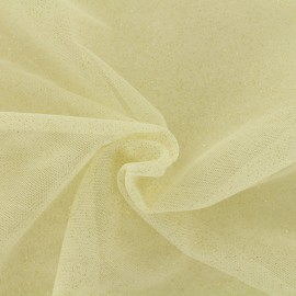 Tissu tulle pailleté Princesse - ivoire x10cm