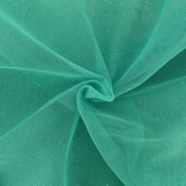 Tissu tulle pailleté Princesse - turquoise x10cm