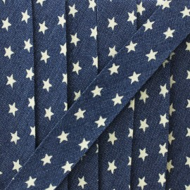 Denim bias binding small star 23mm - blue