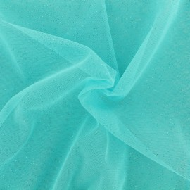 Luxury Sequined Tulle - blue aqua x 10cm