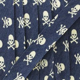 Biais jean tête de mort 20 mm - bleu x 1m