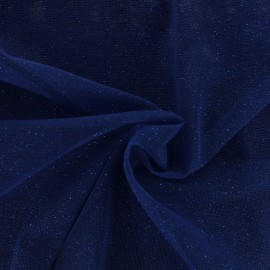Tissu tulle pailleté Princesse - bleu d'Egypte x10cm