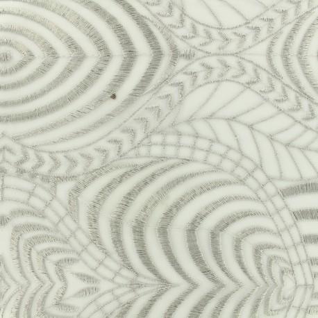 Tissu tulle dentelle brodé Austin - gris perle x 10 cm