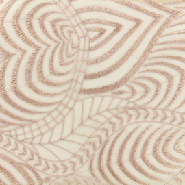 Tissu tulle dentelle brodé Austin - vieux rose x 10 cm