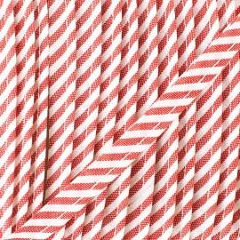 Passepoil grande rayure - rouge  x 1m