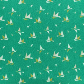 Oeko-Tex 1000 birds poplin fabric - green x 10cm