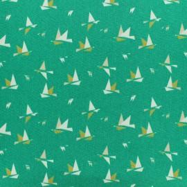 Tissu Oeko-Tex Popeline 1000 birds - vert x 10cm