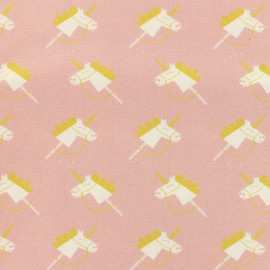 Oeko-Tex Magic unicorns poplin fabric - pink x 10cm