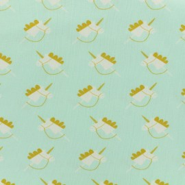Oeko-Tex Magic unicorn jersey fabric - aqua x 10cm