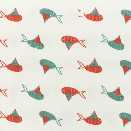 Tissu Oeko-Tex Jersey Fish and clown - blanc x 10cm