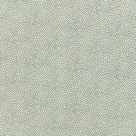 Tissu Viscose Serge petits pois mineral - fond blanc x 10cm