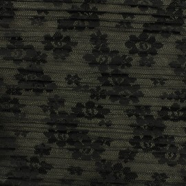 Pleated Tulle Fabric  Floréales - black x 10cm