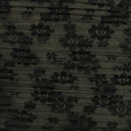 Tissu tulle plissé floréales - noir x 10 cm