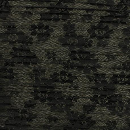 Pleated Tulle Fabric  Floréales - black x 10cm