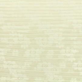 Tissu tulle plissé floréales - blanc x 10 cm