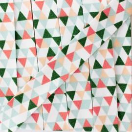 Biais polycoton géométrique - vert/corail