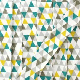 Biais polycoton géométrique - gris x 1m