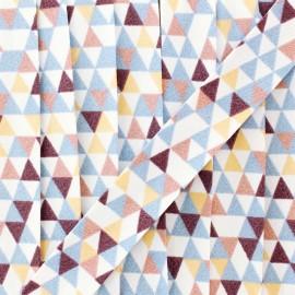 Biais polycoton géométrique - bleu/bordeaux x 1m