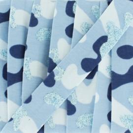Biais jersey camouflage paillettes 20 mm - bleu x 1m