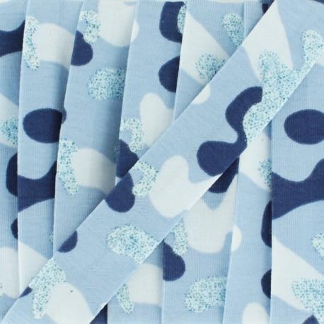 20 mm glittery military jersey bias binding - blue x 1m