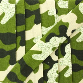 20 mm glittery military jersey bias binding - green x 1m