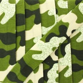 Biais jersey camouflage paillettes 20 mm - vert x 1m