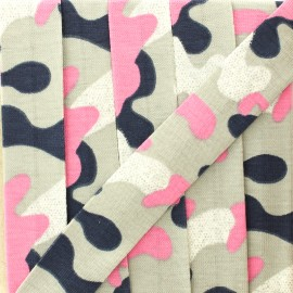 20 mm glittery military jersey bias binding - pink/grey x 1m