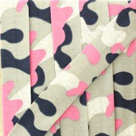 Biais jersey camouflage paillettes 20 mm - rose/gris x 1m