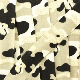 Biais jersey camouflage paillettes 20 mm - beige/doré x 1m