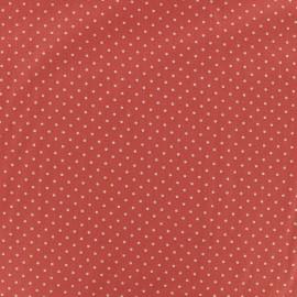 Tissu coton petit dots 2mm - corail/blanc x 10cm
