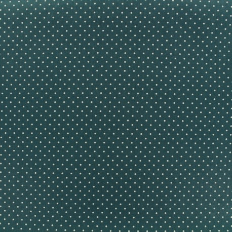 Tissu coton petit dots 2mm - eucalyptus/blanc x 10cm