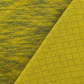 Quilted jersey fabric Diamonds 10/20 - Duty - chin mustard and blue x 10cm