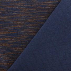 Tissu jersey matelassé Duty losanges 10/20 - acajou et bleu x 10cm