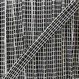 Metallic aspect piping Show - black/white x 1m