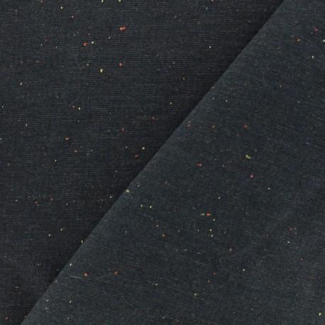 Tissu Oeko-Tex sweat moucheté bleu de minuit x 10cm