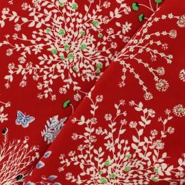Tissu Viscose fleurs feuillage aérien - rouge x 10cm