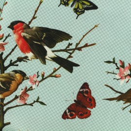 Poppy cotton canvas fabric Little birds - light blue x 20cm
