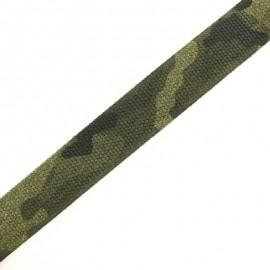 Sangle élastique camouflage 35 mm - vert forêt x 50cm